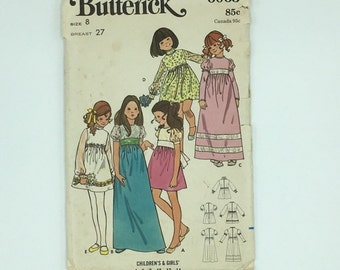 Little girl vintage dress pattern for Christmas or flower girl dress, Butterick 6063 size 8, 1970s style makes puff or long sleeves gathered