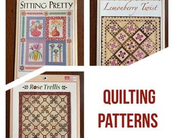 Quilt shop patterns/ quilting patterns/ That Patchwork Place/ Sitting Pretty/ Lemonberry Twist/ Rose Trellis/ new patterns