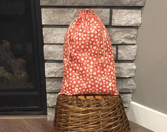 Featured listing image: Large fabric gift bag with double drawstring for Easter or Mother's Day gift, coral screen print cotton cloth bag crafts and travel 11 x 18