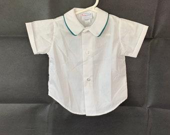 Baby boy shirt, size 12 mos, Imp Originals Inc, old store stock, vintage 1980s, Easter, photos, Baptim, blessing, Christening, wedding