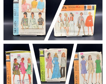 1960's and 1970's vintage McCalls sewing patterns, caftan robe, mini dresses, tops pants and more, sizes 14 - 18, choose pattern