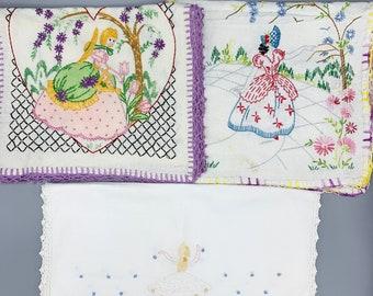 Vintage handmade embroidered table runners/ Southern Belles and Ballerina/ dresser scarves/ linen or cotton/ crochet edges/ choose design