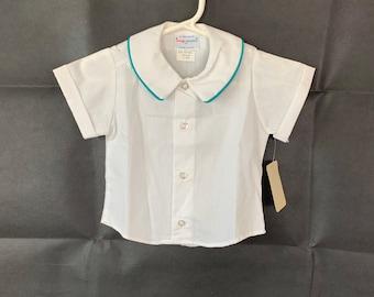 Baby boy Easter shirt, size 12 mos, Imp Originals Inc, old store stock, vintage 1980s, photo, Baptim, blessing, Christening, wedding