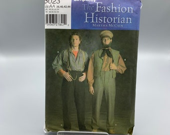Historical costumes pattern Simplicity 5023 men sizes 38 - 44, Uncut, period long tail shirt, pants for plays, reenactment or Halloween
