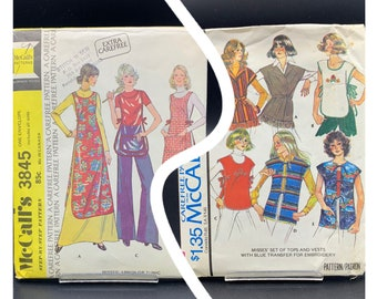 1970's vintage sewing patterns, McCalls 3845 or 5114, tunics tops and aprons, sizes Small - Large choose pattern