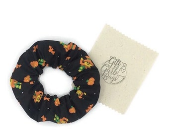 Halloween hair scrunchies pumpkin jack-o lanterns scarecrows and bats, Fall or Autumn ponytail holder, 1990s fashion, messy bun, scrunchy