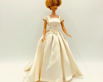 Vintage wedding or evening dress for Barbie, 1960's seamstress made, long ivory cap sleeve flounced gown, Barbie collector gift