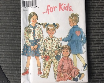 Toddler romper or dress with heart, vintage 1995 New Look pattern 6403 size 1/2 - 4T retro style baby clothes, baby shower gift, sewing