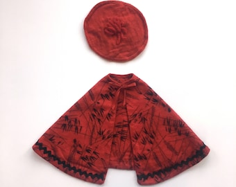 Doll cape and hat for vintage Terri Lee doll or 16 inch dolls, red and black flannel cape with red knit beret hat, 1960's handmade
