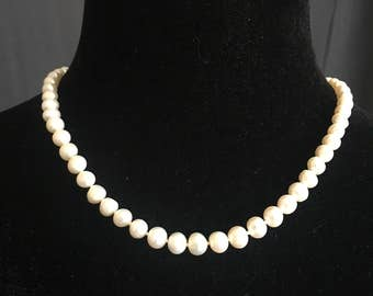 Vintage Genuine Pearl Necklace, Wedding Pearls, 18 In Strand, 62 Pearls, 5 - 7mm Pearls, Silver Clasp, Something Old, Vintage Pearls
