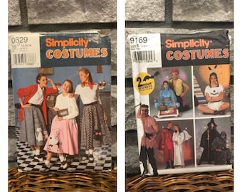 Costume patterns/ Halloween or party/ Poodle skirt/ Simplicity 7214 size misses 6-10/ Simplicity 9169 Adult S-L/ Genie, devil, grim reaper +