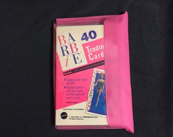 Barbie trading cards from 1990 1st Edition set of 4 unopened packs with vinyl case, 40 cards total