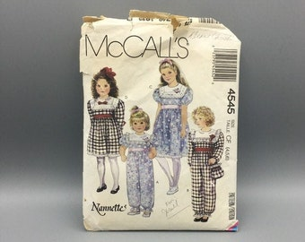 Little girls jumpsuit, dress and bag vintage pattern, Easter, Flower Girl, or church dress, McCall's 4545 Size 4 - 6, square yoke dress