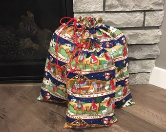 Christmas fabric gift bags for large presents in Nativity Christian print, drawstring bags 2 sizes, 21.5 x 22 & 10.5 x 18.5, reusable wrap