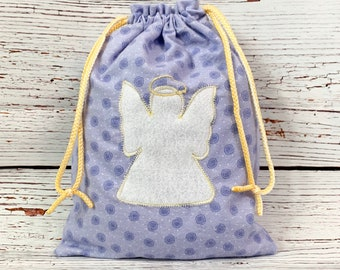 Guardian angel flannel fabric gift bag with double drawstring, 9.5 x 13, lavender print angel appliqué, baby shower, birthday, pajama bag
