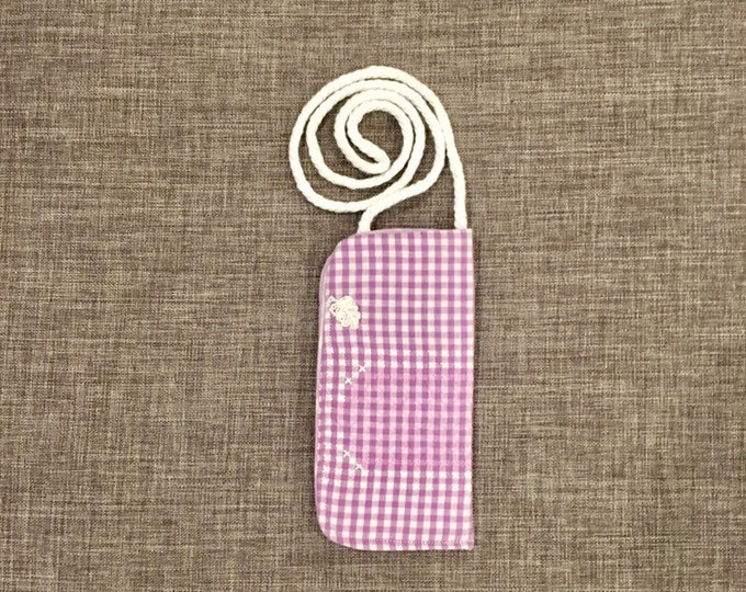 Featured listing image: Hanging eyeglass case or glasses necklace, gift idea for Mother's Day, grandma, knitting or drafting, keeps your specs handy and clean