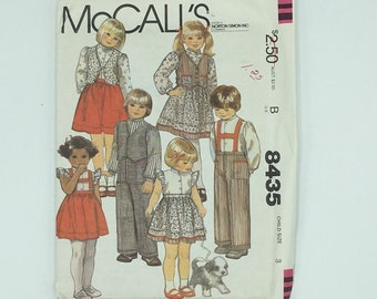 Toddlers boy and girl pattern makes shirt, vest, skirt and pants, vintage McCalls 8435 Size 3 from 1983, kids separates, 80's styles, uncut