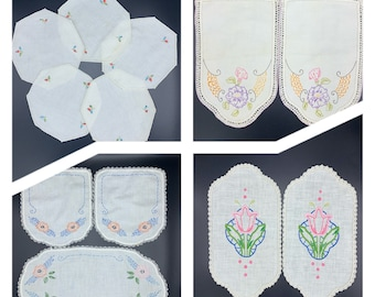 Vintage embroidered and crocheted lace doily sets/ dresser scarfs/ Linen Doilies/ embroidery/ Farmhouse decor
