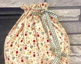Jumbo Christmas fabric gift bag, handmade Santa sack, country print with trees, geese and bears, green gingham ribbon drawstring, 21.5 x 38