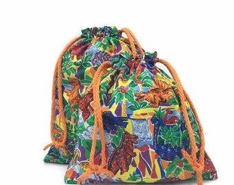 Drawstring fabric gift bag in dinosaur print for baby shower, birthdays, Halloween costumes and more 10 x 10 or 10 x 12.5 reusable gift bags