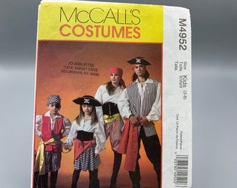 Pirate costume pattern McCall's M4952 size kids 3-8 boys or girls pants, shirt, vest, sash& lace up belt for party or Halloween, 2005 uncut