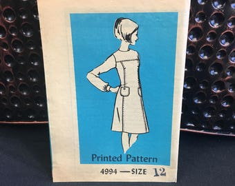 Marian Martin dress pattern 4994 vintage mail order pattern from 1966, makes a long sleeve dress, size 12