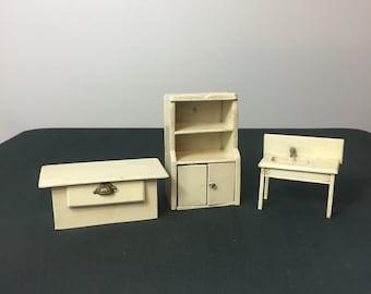 Vintage Miniature Kitchen Furniture, Wood Dollhouse Kitchen, Dollhouse Kitchen Sink, Farmhouse Kitchen, Miniature Collector, Kitchen Cabinet