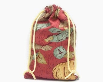 Reusable fabric gift bag with double drawstring cord, abstract fall colors best friend birthday gift idea, sustainable zero waste, 7.75 x 12