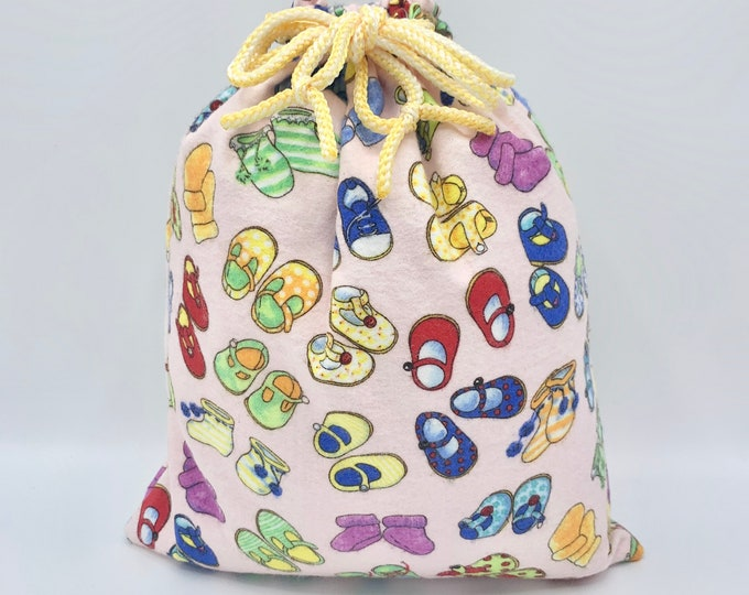 Featured listing image: Baby shower fabric gift bag/  1st birthday gift/ sustainable reusable as toy bag/ pink flannel cute shoes print/ drawstring 10.5 W x 13 L