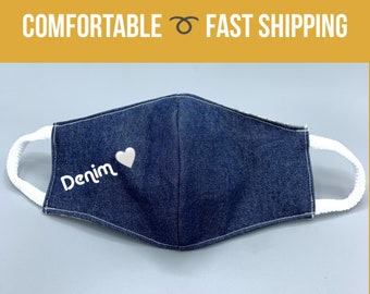 Denim face masks, 3 layers w/ filter pocket, soft ear loops, hands off face mask, 4 colors, washable and reusable, sizes S M L XL