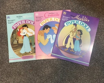Vintage Disney Princess paper doll books, Aladdin, Little Mermaid and Cinderella from 1989 - 1992 uncut originals