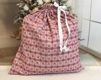 Extra Large Christmas fabric gift bags, buffalo plaid santas, handmade Santa sacks, white ribbon drawstring, family gifts, big bag 22.5 x 24