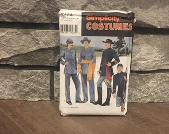 Civil War costumes pattern Simplicity 7274 teen & men size XS - XL Uncut, peroid costumes for plays or reenactment or Halloween Jacket pants