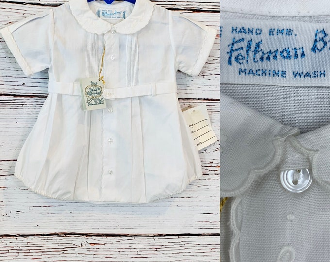 Featured listing image: Vintage baby boy Christening outfit for newborns, Feltman Bros old store stock 1980's, baby photo shoot, blessing, Easter, reborn dolls