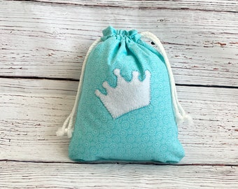 Drawstring bag/ Sustainable eco friendly fabric gift bag/ Ice Princess/ birthday or baby shower/ 12.5 x 10.5, gift for little girls