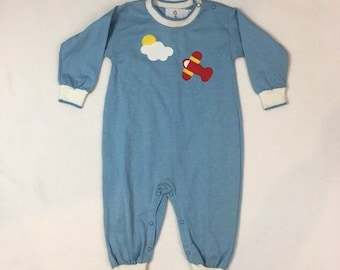 Vintage baby jersey knit outfit in blue with white trim, airplane and cloud theme patch, Size XL 18 - 24 months, 1980's baby clothes