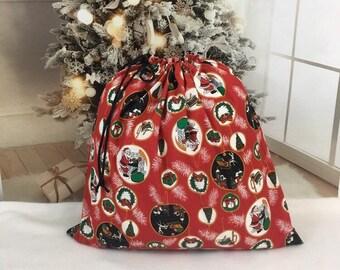 Big Christmas fabric gift bags, ornament print, handmade Santa sacks, black cord drawstring, family gifts, extra large toy bag 21 x 21