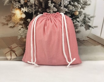 Large Christmas fabric gift bag, red striped soft poly flannel ,14.75 x 14.75 with white double drawstring, reusable gift bags, eco-friendly