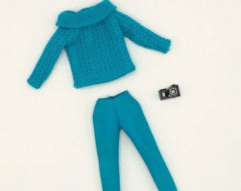 Vintage Barbie Photo Fashion outfit #1648, 1965 turquoise sweater, pants and black camera, 11.5 size fashions, tagged Barbie by Mattel