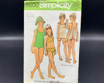 Vintage girls swim suit pattern, 1 or 2 piece with lace apron cover up, Simplicity 5600 from 1973 size 14 breast 32 stretch fabrics