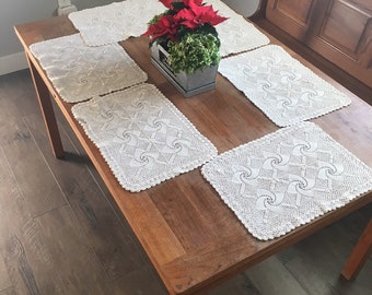 Crochet cotton placemats, vintage farmhouse style neutral decor, set of 6, natural or ecru color in star pattern 12 x 16.5