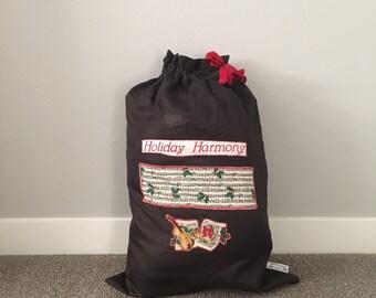 Big Santa sack for family Christmas presents, big gift, or party music theme, x-large black cloth bag, 21 x 31, Reusable Santa Claus bag