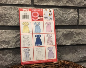 Little girl dress pattern for Easter or flower girl dress, Butterick 6035 sew easy 1999, size 6-8 makes 9 styles including 2 collar options
