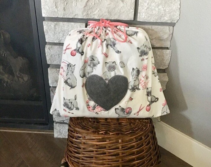 Featured listing image: Kitten print vintage drawstring fabric gift bag for Valentine's Day or baby shower gift, gray kittens with pink accents, yarn bag 17 x 15.5
