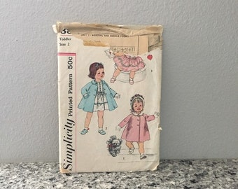 Toddler dress and coat with detachable collar pattern for flower girl or Easter, gathered skirt, Simplicity 3335 vintage 1960's size 2
