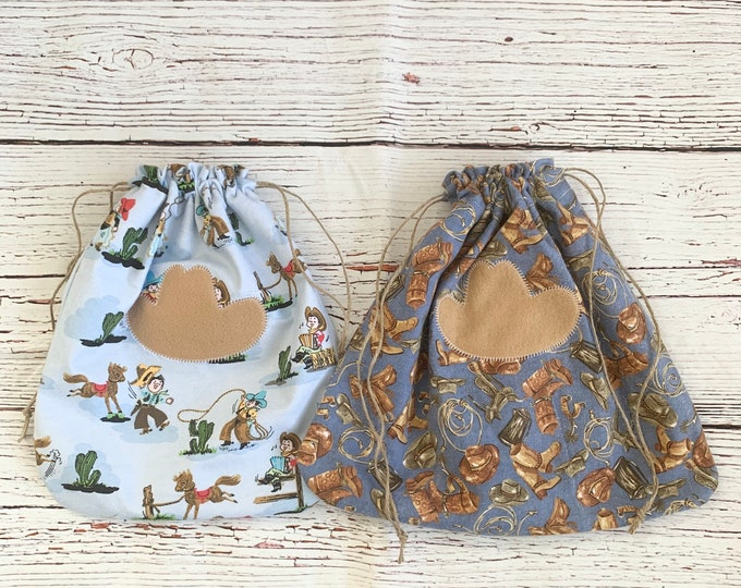 Featured listing image: Sustainable reusable drawstring bags/ Cowboy theme fabric gift bags/rodeo or horse lovers gift/Western style gift/2 styles