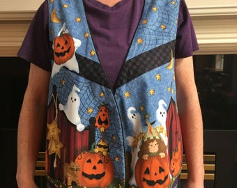 Halloween Vest, Halloween Lovers, Reversible Vest, Leslie Beck, Which Witch & the Who Too, 1990's, Lined Vest, Halloween Costume, Party Vest