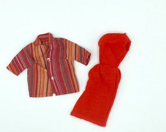 Vintage shirt and dress for Barbie, 1960's handmade one shoulder red knit dress and striped cotton button up shirt, retro Barbie fashions
