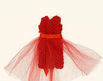 Crochet dress for Barbie 11.5 size fashion dolls vintage 1960's handmade doll dress, gift for collectors, red mini dress for Barbie