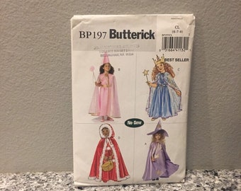 Fairy Princess, queen, good witch or red riding hood no sew costume pattern for Halloween Butterick BP197 size girls 6-7-8 easy make costume